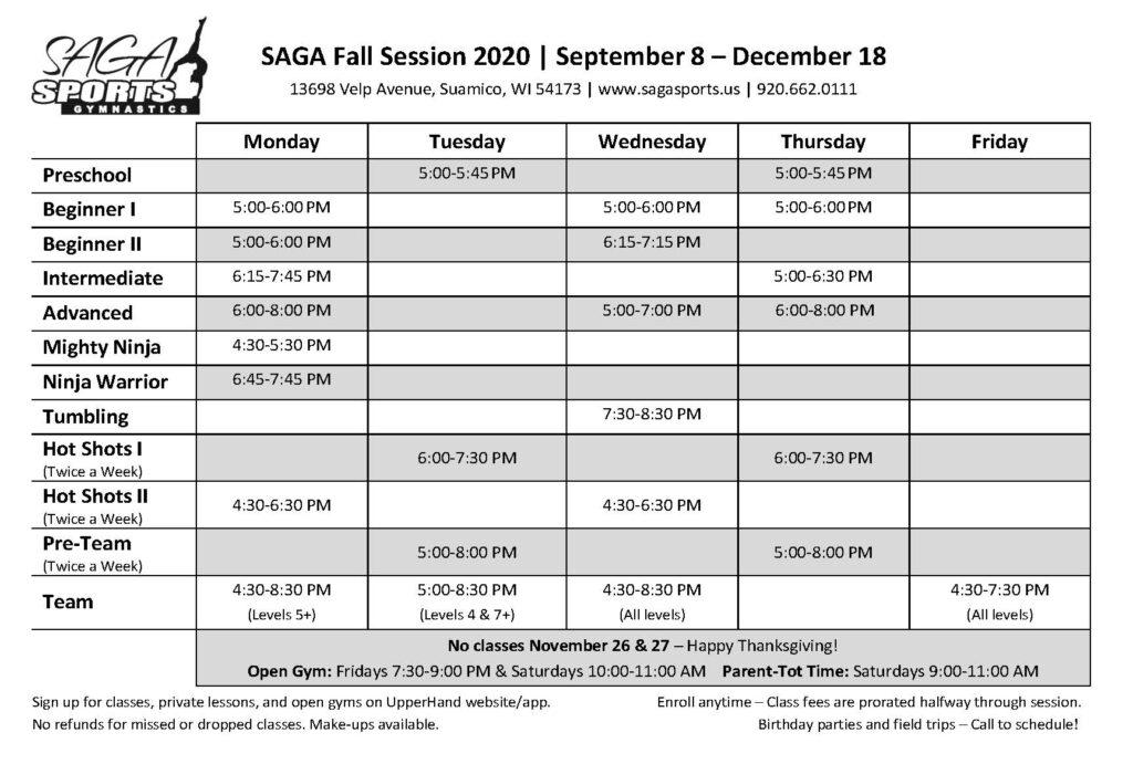 SAGA Fall 2020 Class Schedule