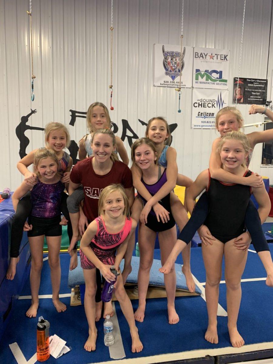 Advanced girls and coach